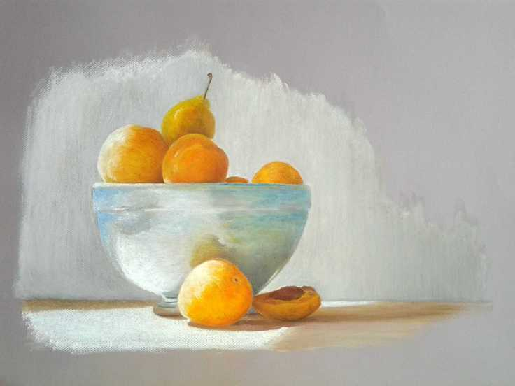 Study of Plums in Bowl, Pastel ( 420 x 594 mm)