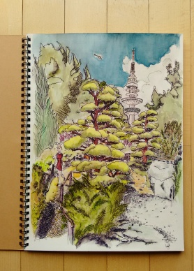 Planten un Blomen, Japanese Garden, Pitt Pen & Watercolor.